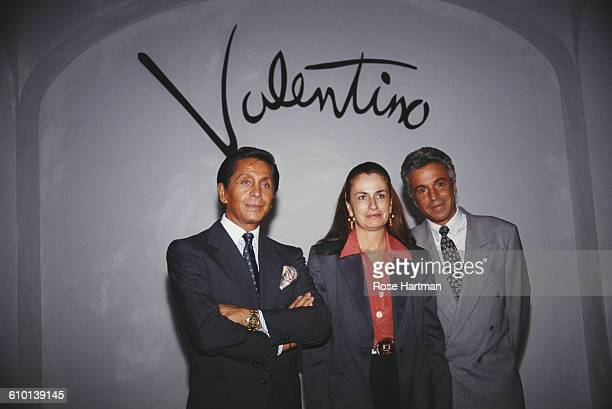 From left to right fashion designer Valentino Garavani Giancarlo Giammetti and Muriel Brandolini USA circa 1995