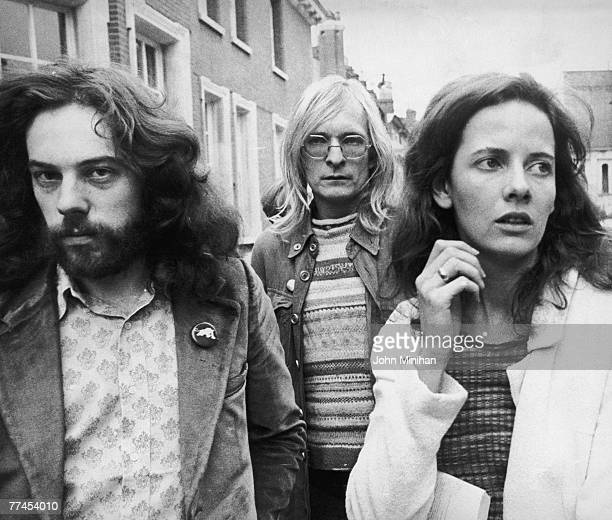 From left to right Felix Dennis and Jim Anderson coeditors of Oz magazine with Louise Ferrier the girlfriend of Oz editor Richard Neville 19th...
