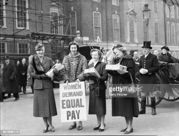 From left to right female MPs Edith Summerskill Patricia Ford Barbara Castle and Irene Ward make their way to the House of Commons with a petition...