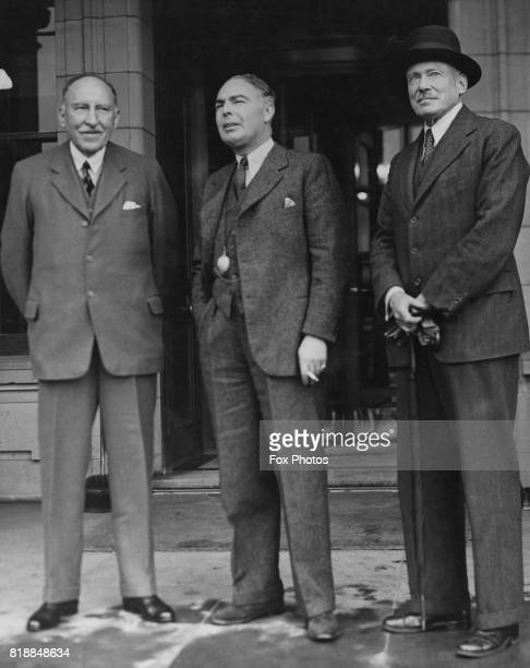 From left to right Field Marshal Sir Cyril Deverell Chief of the Imperial General Staff British politician Leslie HoreBelisha the Secretary of State...