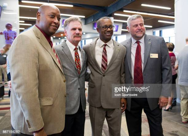 From left to right Florida State athletic director Stan Wilcox president of the Seminole Boosters Andy Miller head coach Willie Taggart and 2017...