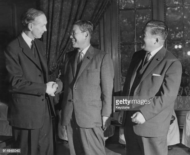 From left to right Foreign and Commonwealth Secretary Alec DouglasHome Japanese Prime Minister Hayato Ikeda and Japanese Foreign Minister Masayoshi...