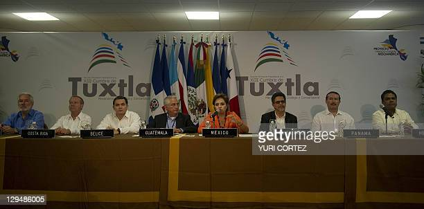 From left to right foreign minister from Nicaragua SamuelSantos from Costa Rica Enrique Castillo vice foreign minister of Belize Alexis Rosado...