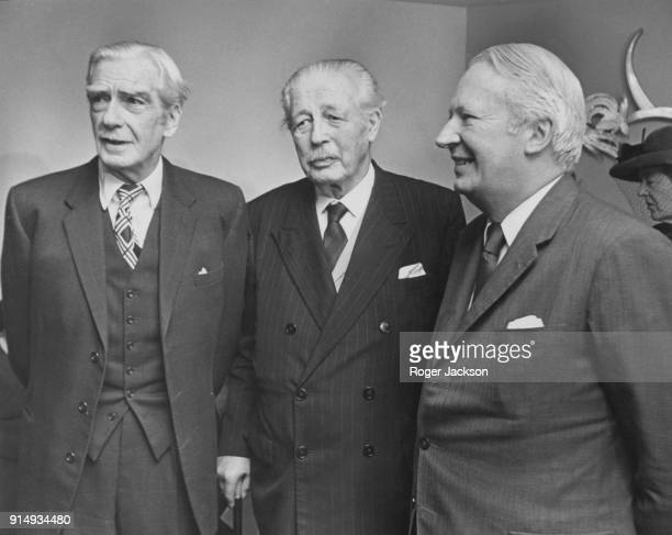 From left to right former British Prime Ministers Lord Avon and Harold Macmillan with current Prime Minister Edward Heath at the Savoy Hotel in...