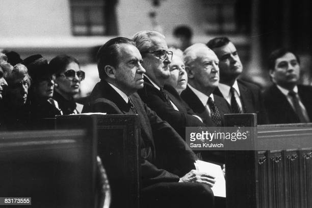 From left to right, former president Richard Nixon , former US Ambassador to the UN Vernon A. Walters , former Secretary of State William P. Rogers...