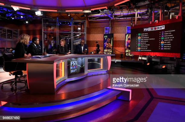 From left to right Fox Sports host Charissa Thompson BIG3 league cofounders Ice Cube and commissioner Clyde Drexler speak after the conclusion of...