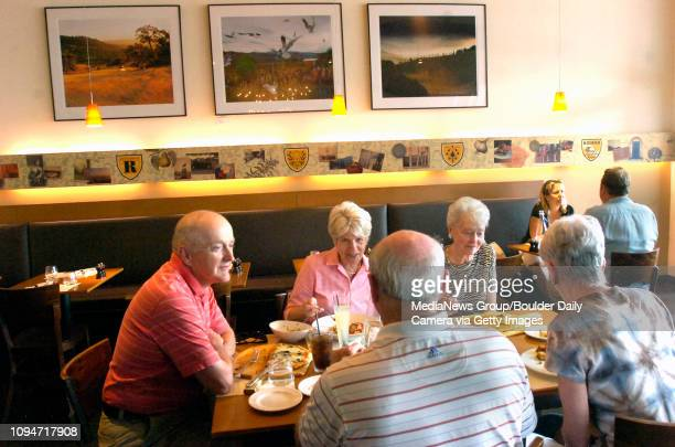 From left to right Frank Sprow Joyce Goldmann Steve Goldmann Sammie Bost and Anne Sprow enjoy lunch at Radda Trattoria in Boulder on Wednesday...