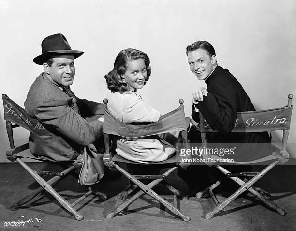 From left to right Fred MacMurray Alida Valli and Frank Sinatra the stars of 'Miracle of the Bells' directed by Irving Pichel for RKO