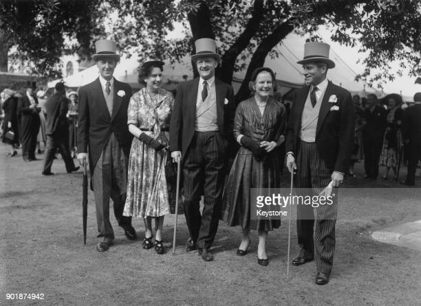From left to right Frederick Smith 2nd Earl of Birkenhead and Lady Birkenhead politician Rab Butler and his wife Sydney and actor Sir Laurence...
