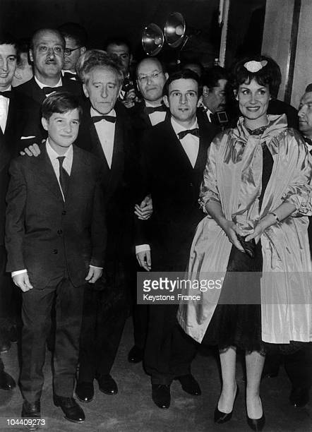 From left to right French actor JeanPierre LEAUD French writerpoet Jean COCTEAU French film director Francois TRUFFAUT and Claire MAURIER together...