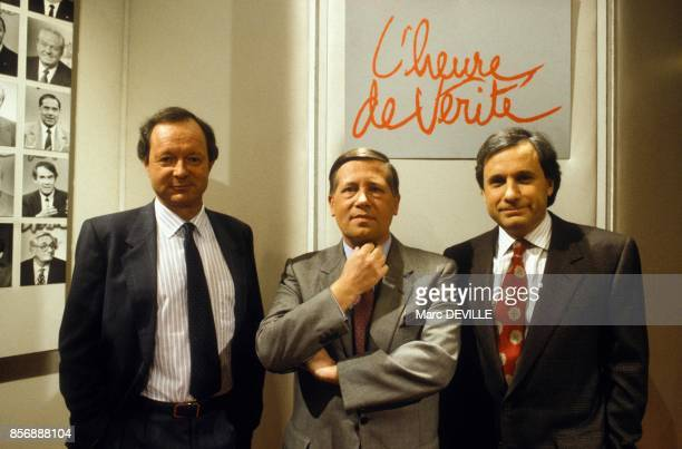 From left to right French journalists Albert du Roy Alain Duhamel and JeanMarie Colombani at 'L Heure de verite' political tv show on January 23 1990...