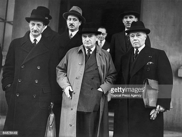 From left to right Georges Bonnet the French Foreign Minister Edouard Daladier the French Prime Minister and General Maurice Gamelin the French...