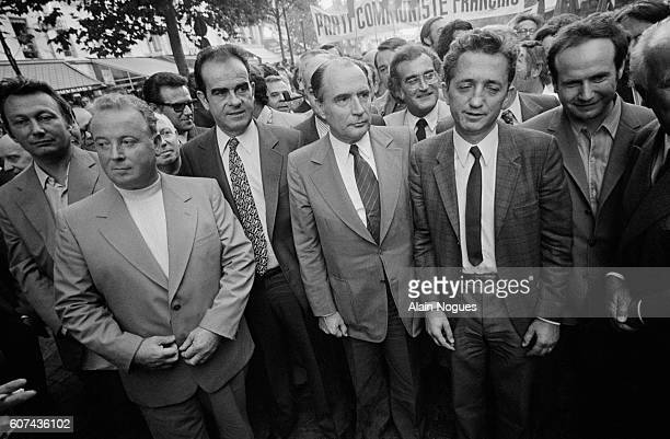 Georges Seguy Georges Marchais Francois Mitterrand and Edmond Maire attend a demonstration to express their solidarity with Chile