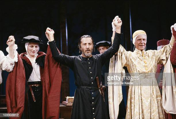 From left to right Geraldine James Dustin Hoffman and Basil Henson star in Peter Hall's stage production of Shakespeare's 'The Merchant of Venice'...