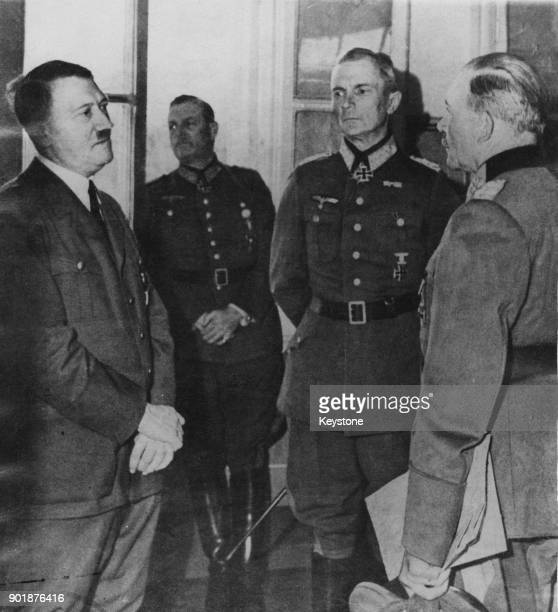 From left to right German Chancellor Adolf Hitler General Heinz Guderian Field Marshal Fedor von Bock and German officer Wilhelm Keitel July 1944