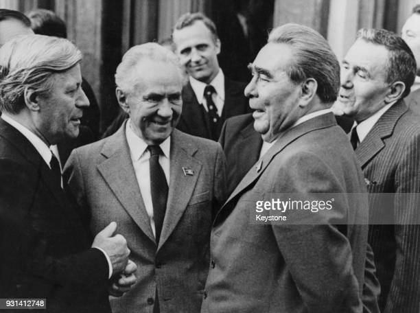 From left to right German Chancellor Helmut Schmidt Soviet premier Alexei Kosygin Leonid Brezhnev and Russian Foreign Minister Andrei Gromyko during...