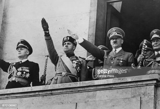 From left to right German Foreign Minister Joachim von Ribbentrop Italian Foreign Minister Count Ciano German Chancellor Adolf Hitler and Field...