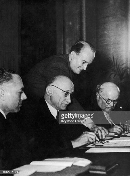 From Left To Right Gilbert Grandval French Military Governor Of Saarland Robert Schumann French Minister Of Foreign Affairs And Johannes Hoffmann...