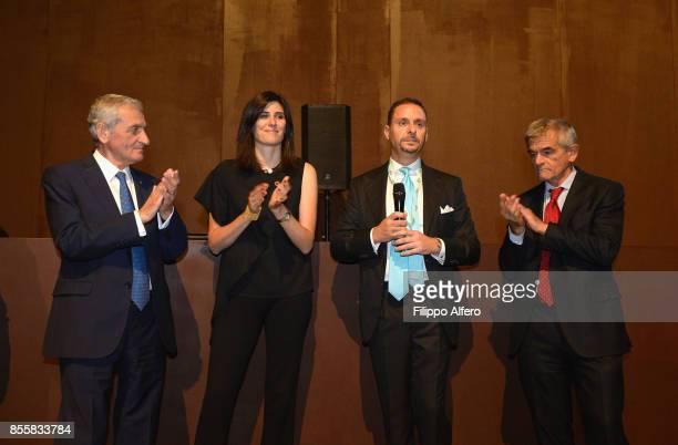 From left to right Giovanni Quaglia Chiara Appendino Massimo Lapucci Sergio Chiamparino during the OGR Institutional Night on September 29 2017 in...
