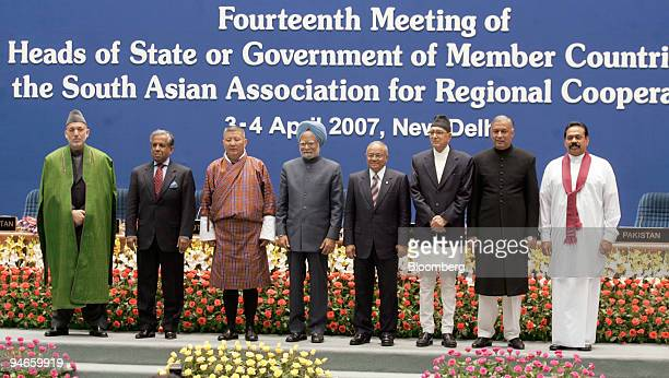 From left to right Hamid Karzai president of Afghanistan Fakhruddin Ahmed chief advisor of Bangladesh Khandu Wangchuk prime minister of Bhutan...