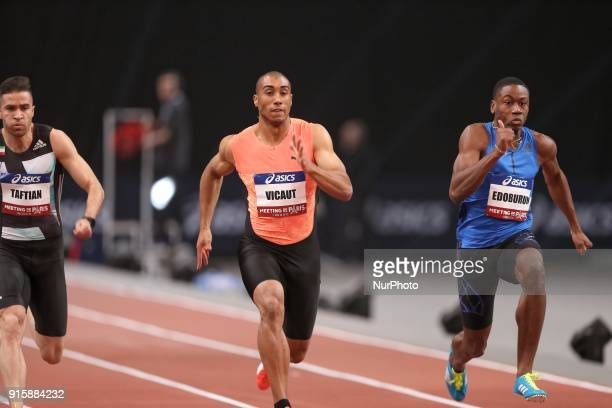 Hassan Tafian of Iran Jimmy Vicaut of France Ojie Edoburun of Great Britain compete in 60m during the Athletics Indoor Meeting of Paris 2018 at...