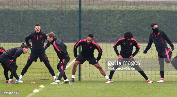 From left to right Hector Bellerin Granit Xhaka Nacho Monreal PierreEmerick Aubameyang Mohamed Elneny and Mesut Ozil during the Arsenal Training...