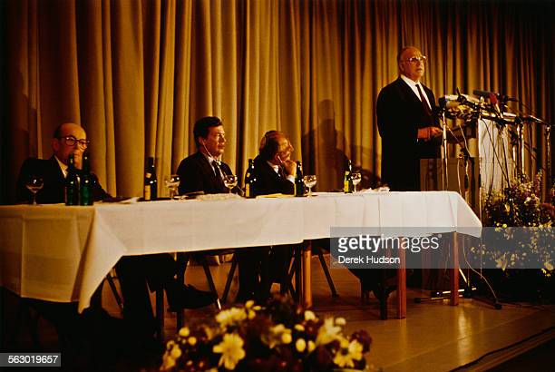 From left to right Heinz Galinski president of the Central Council of Jews in Germany CanadianAmerican philanthropist Edgar Bronfman Sr unknown and...