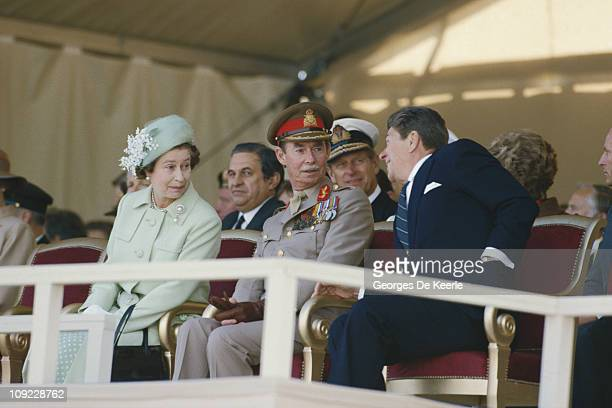 From left to right Her Majesty Queen Elizabeth II Grand Duke Jean Of Luxembourg and US President Ronald Reagan commemorate the 40th Anniversary of...