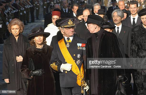 HRH Queen Sofia of Spain HRH Queen Silvia and King Carl Gustaf of Sweden and HRH Queen Margrethe of Danemark attend the funeral of Grand Duchess of...