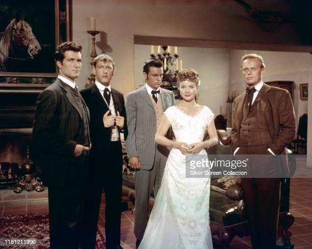 From left to right Hugh O'Brian as Mike Devereaux Earl Holliman as Denny Devereaux Robert Wagner as Joe Devereaux Jean Peters as Barbara and Richard...