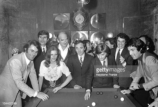 From left to right in a Eddy BARCLAY's billard room Alain BARRIERE JeanChristophe AVERTY NICOLETTA Eddy BARCLAY Charles AZNAVOUR Pierre VASSILIU...