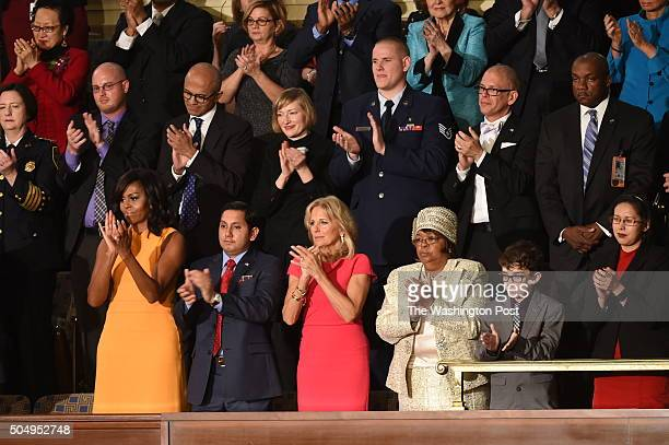 Michelle Obama Naveed Shah Jill Biden Edith Childs Braeden Mannering From left to right in second row Chief Kathleen O'Toole Ryan Reyes Staya Nadella...