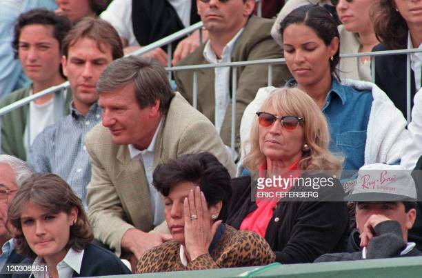 Michael Bartles her father Peter and her mother Heidi attends the Women's French Open final match opposing German Steffi Graf and Spaniard Arantxa...