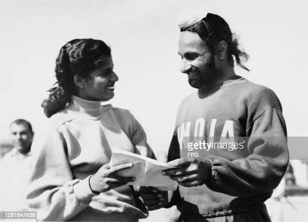 From left to right, Indian competitors Mary D'Souza and Grahanandan 'Nandy' Singh at the Olympic Village during the Summer Olympic Games in Helsinki,...