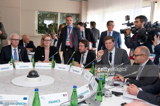 From left to right Interpol Secretary General Jurgen Stock UK Home Secretary Amber Rudd Head of Public Policy and Government for the UK and Israel...