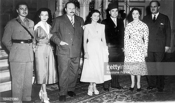 From Left To Right Ismail H Sherine Bey His Wife Princess Fawzia King Farouk 1St Of Egypt Princess Faika And Her Young Husband Fuad Sadek Bey...