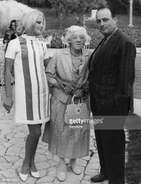 From left to right Italian actress Virna Lisi English actress Margaret Rutherford and Italian director Mauro Bolognini at a press conference in Rome...