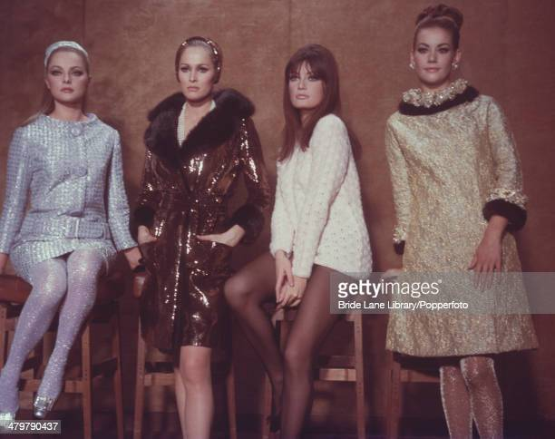 From left to right Italian actress Virna Lisi Swiss actress Ursula Andress Austrian actress Marisa Mell and French actress Claudine Auger stars of...