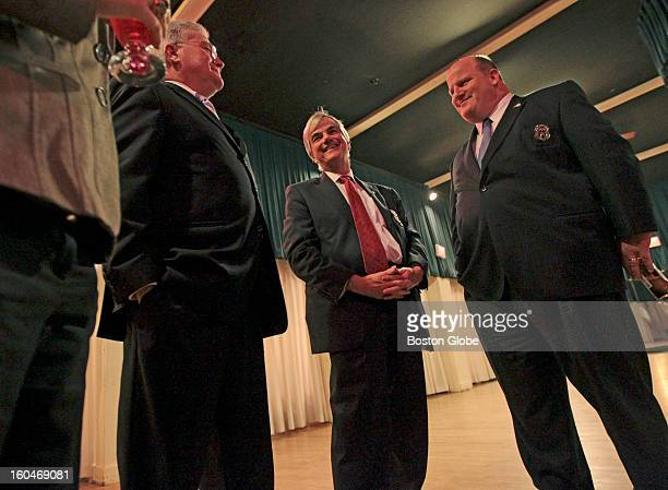 From left to right Jack McGaffigan of Brockton David Chiampa of Shrewsbury and Bob Timmerman of Needham attend the annual gathering of the Society in...