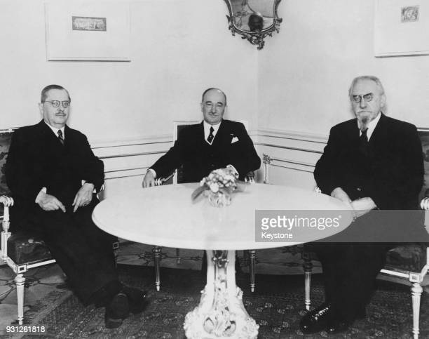 From left to right Jan Malypetr chairman of the Chamber of Deputies Czechoslovakian President Dr Edvard Benes and Frantisek Soukup President of the...