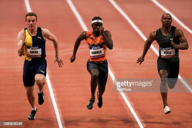 Jan Volko , Brandon Carnes , Mike Rodgers compete in 60m during the Athletics Indoor Meeting of Paris 2019, at AccorHotels Arena in Paris, France on...