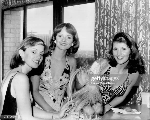 Jeanette Gowdie Monique Daams Patricia Anty Finalists in the Quest of quests beauty pageant at the Koala Motor Inn Sydney today September 10 1973
