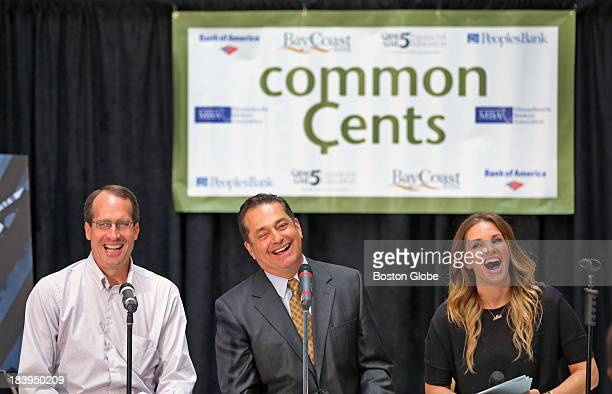 From left to right Jeffrey Fuhrer executive vice president of the Federal Reserve Bank of Boston Mike Nikitas New England News anchor and radio...