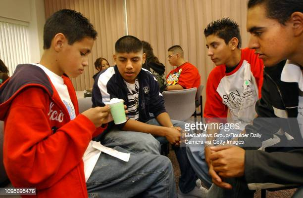 From left to right Jesus Tena, Ignacio Sandoval, Miguel Sierra and Carlos Pereyra, students from Skyline High School work on a egg drop protection...