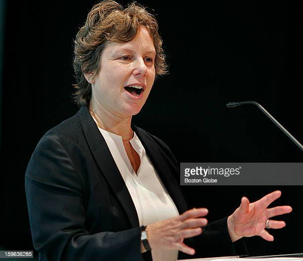 From left to right Jill Medvedow director of the Institute Of Contemporary Art speaking in the Barbara Lee Family Foundation Theater in the new...