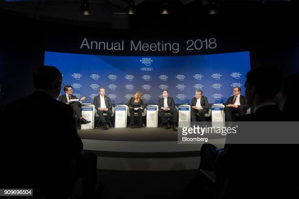From left to right John Fraher senior executive editor at Bloomberg News Arkady Dvorkovich Russia's deputy prime minister Emma Marcegaglia chairman...