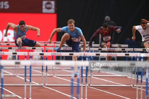 Jorge Urena of Spain Kevin Mayer of France Ruben Gado of France Basile Rolnin of France compete in 60m Triathlon during the Athletics Indoor Meeting...