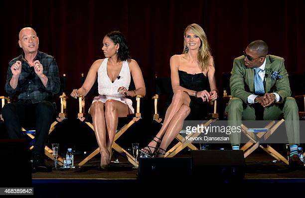"""From left to right, judges Howie Mandel, Mel B, Heidi Klum, host Nick Cannon take part in a panel discussion of reality competition series """"America's..."""