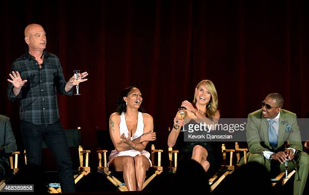 """From left to right, judges Howie Mandel, Mel B, Heidi Klum, host Nick Cannon celebrate 10th anniversary of reality competition series """"America's Got..."""