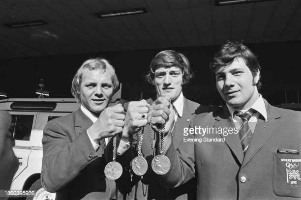 From left to right, judo champions Brian Jacks, Dave Starbrook and Angelo Parisi with their medals from the 1972 Summer Olympics in Munich, UK, 13th...